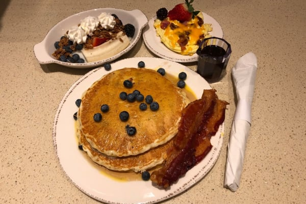 Beautiful stack of pancakes with fresh blueberries - hot off the griddle - at Legacy Living Jasper