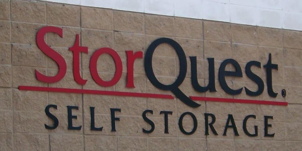 Exterior signage at StorQuest Self Storage in Stockton, California
