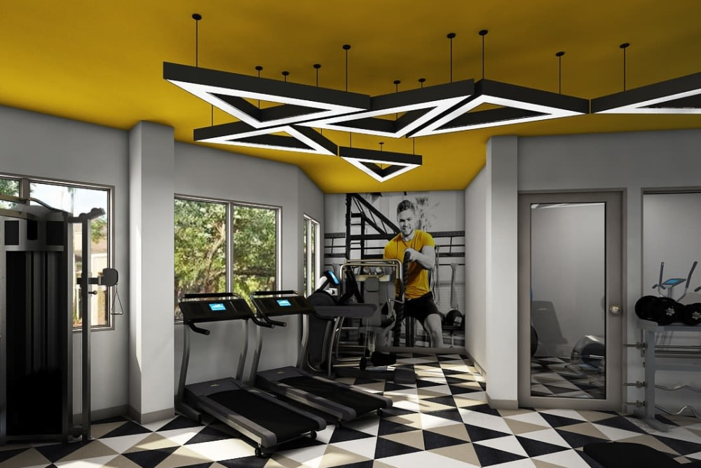 Rendering of a fitness center at Steelyard in St. Louis, Missouri