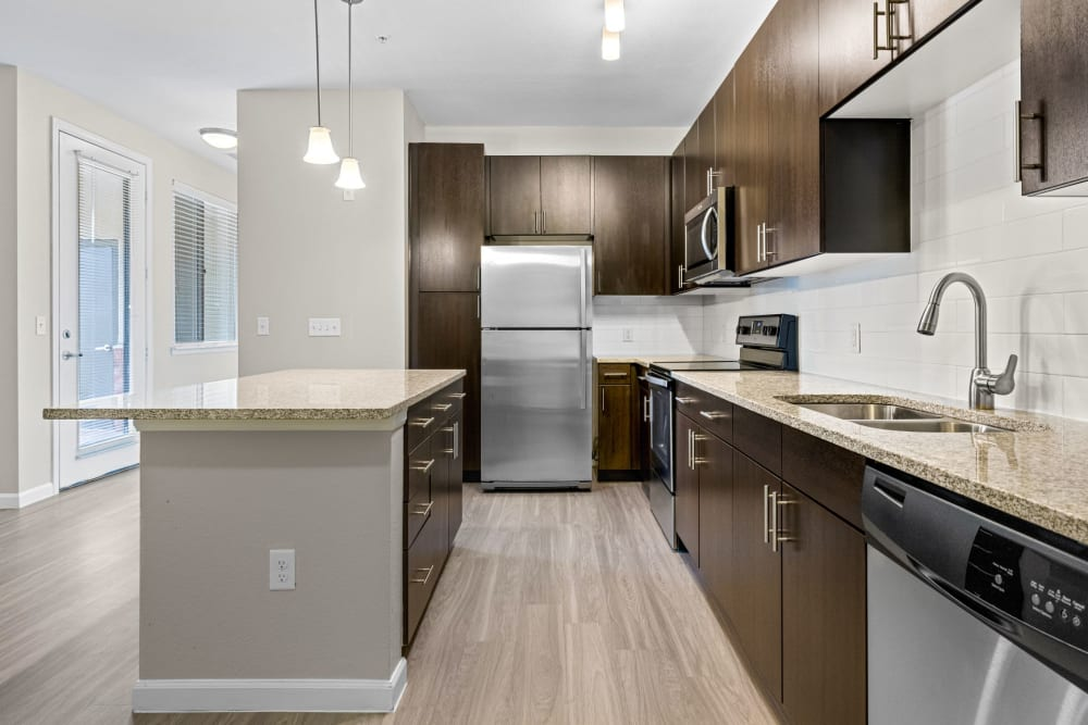 Beautiful, gourmet kitchen in a model home at The Parc at Greenwood Village in Greenwood Village, Colorado