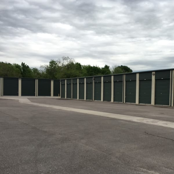 Outdoor drive-up storage units at StorQuest Self Storage in Richmond, Texas