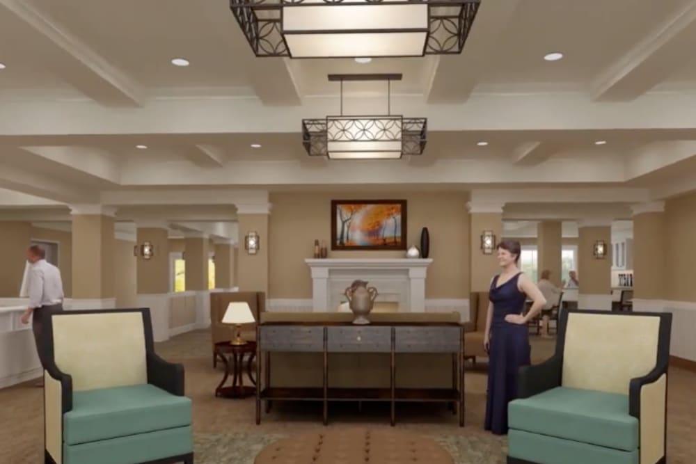 A rendering of the lobby at Harmony at Greensboro in Greensboro, North Carolina