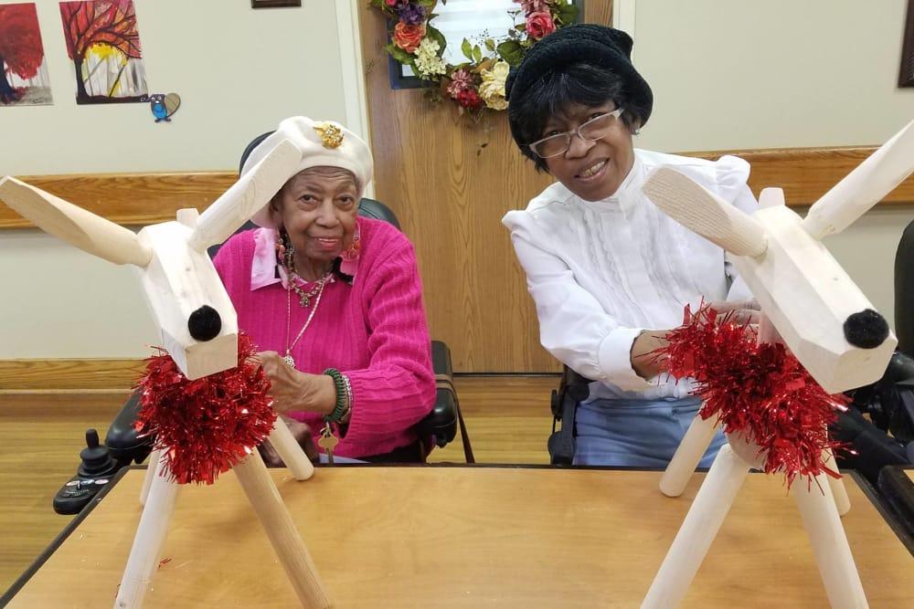 senior residents enjoying crafts
