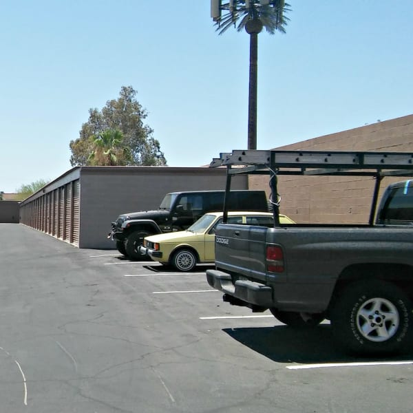 Outdoor auto parking and storage units at StorQuest Self Storage in Tempe, Arizona