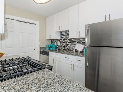 Stainless-steel appliances and granite countertops in a model home's kitchen at The Bentley at Marietta in Marietta, Georgia