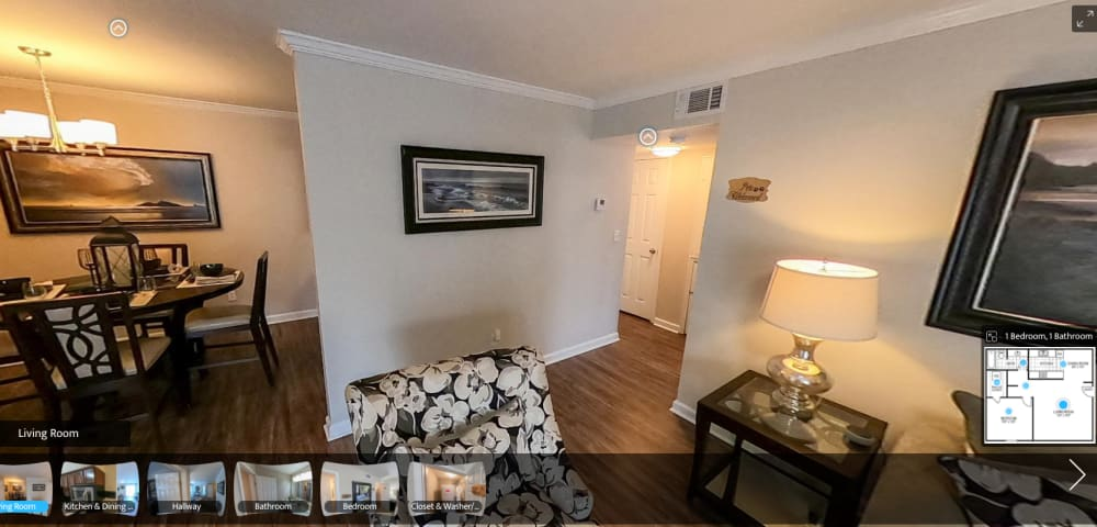 virtual tour of 1 Bedroom 1 Bath apartment at Emerald Pointe Apartment Homes in Harvey, Louisiana