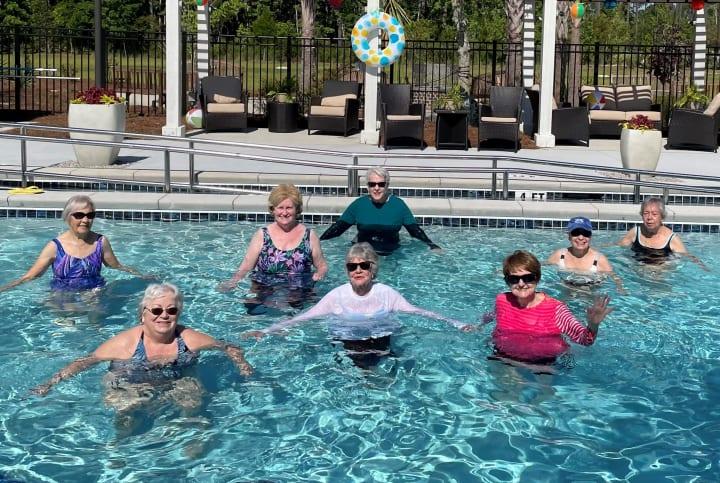 Carolina Park residents enjoy water aerobics in the brand new pool!
