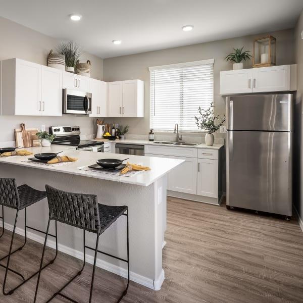 Modern kitchen area at TerraLane at Canyon Trails in Goodyear, Arizona