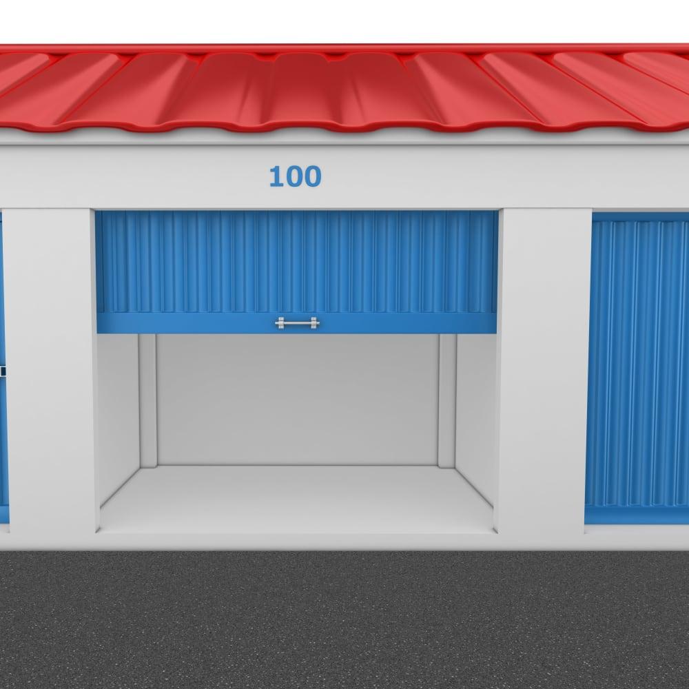 An open storage unit at Trojan Storage in Portland, Oregon