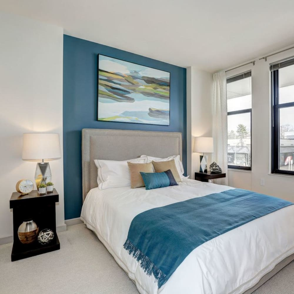 Beautifully decorated bedroom in a model home at Solaire 7077 Woodmont in Bethesda, Maryland