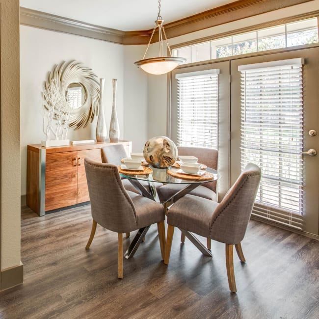 Well-decorated dining room in model home at Beck at Wells Branch in Austin, Texas