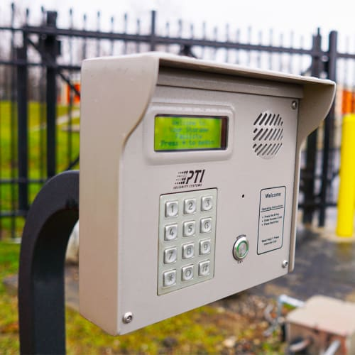 A keypad at the entryway of Red Dot Storage in Kansas City, Missouri