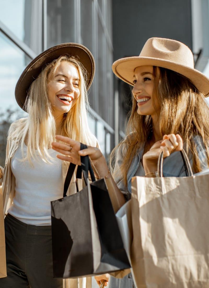 Friends shopping near Marquis at Perimeter Center in Atlanta, Georgia