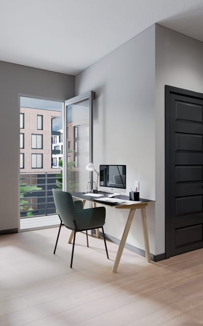 Stylist in-home office space at Solana Stapleton Apartments in Denver, Colorado