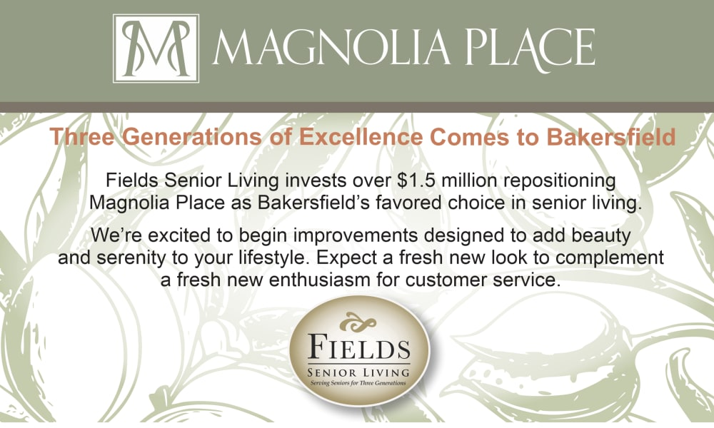 Event graphic at Magnolia Place in Bakersfield, California