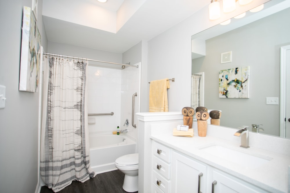 Spacious bathroom at Emblem Alpharetta in Alpharetta, Georgia