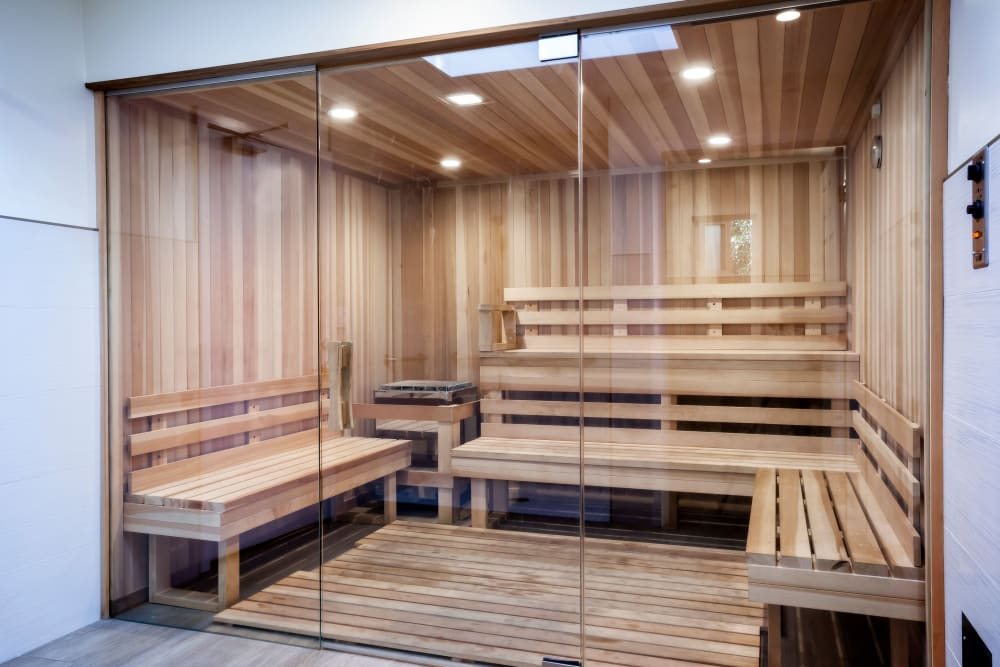 Community sauna at Brookdale Apartments in San Jose, California