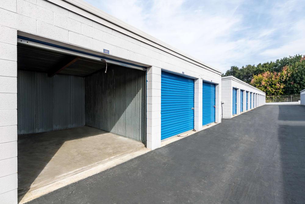 A wide view of exterior storage units at Storage Etc... Diamond Bar in Diamond Bar, CA