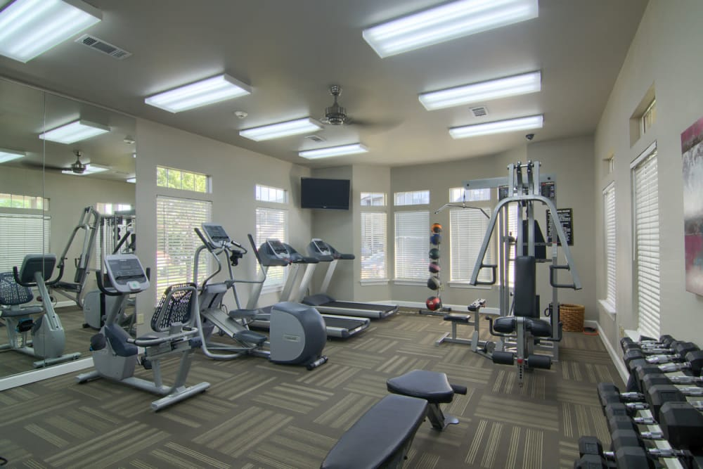 Fitness center at Villas At Preston Lakes in Owasso, Oklahoma
