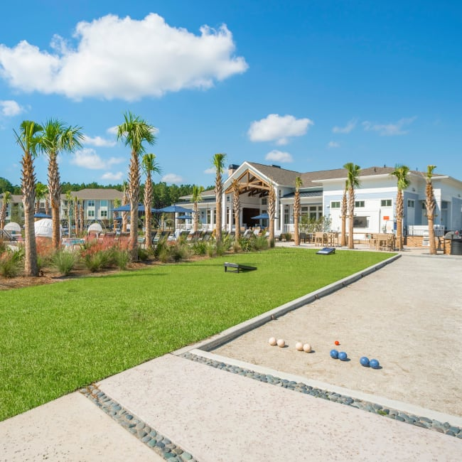Bocce ball court at Elevate at Brighton Park in Summerville, South Carolina