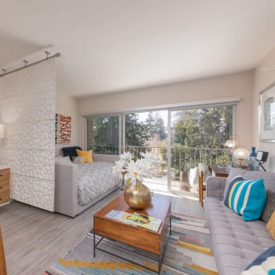 Well-decorated model studio apartment at Mia in Palo Alto, California