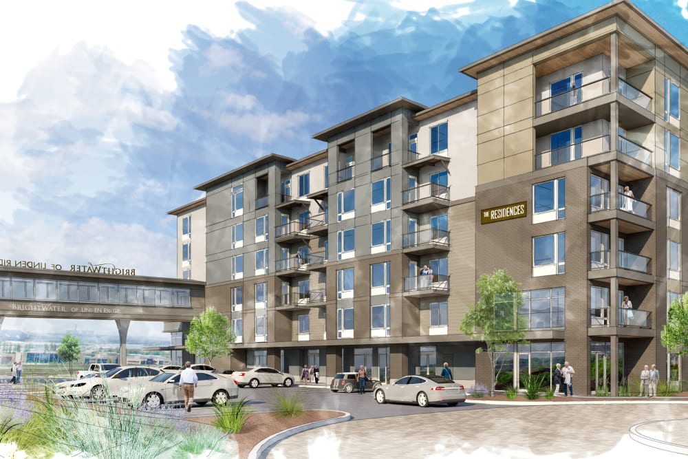 A rendering of the front entrance with cars parked in the front at The Arbours at Linden Pointe in Winnipeg, Manitoba