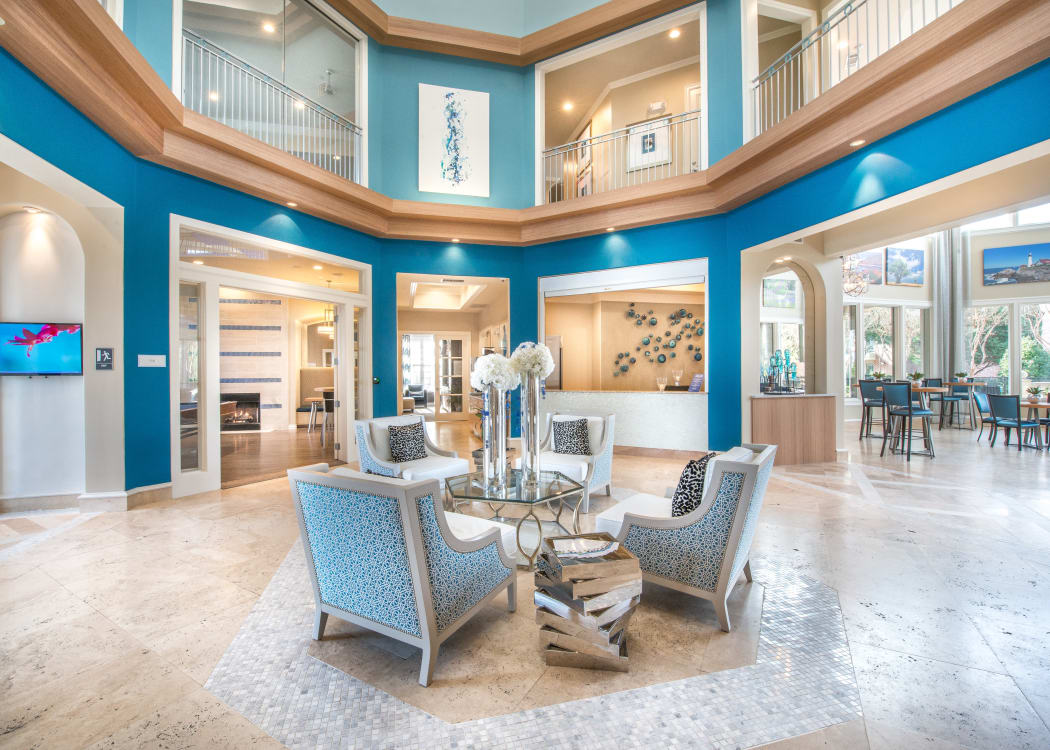 Beautiful lobby area at Bella Vida Estates in Plano, Texas