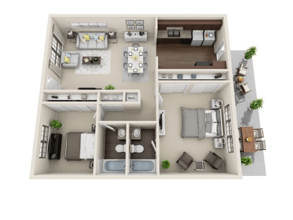 Seneca floor plan at Villages at Parktown Apartments