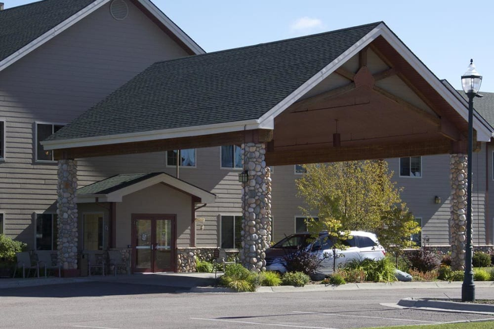 Drive way leading up to upscale senior living apartment at The Springs at Whitefish in Whitefish, Montana