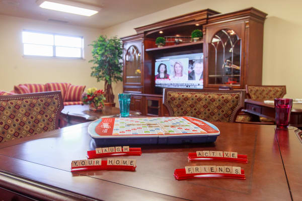 Activity & entertainment room  at Providence Meadows Gracious Retirement Living in Charlotte, North Carolina