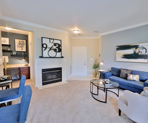 Living room at The Village at Potomac Falls Apartment Homes in Sterling, Virginia