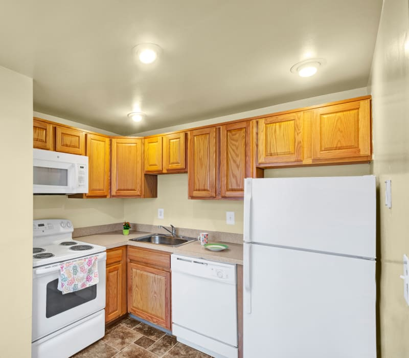 Bright kitchen at New Orleans Park Apartments in Secane, Pennsylvania