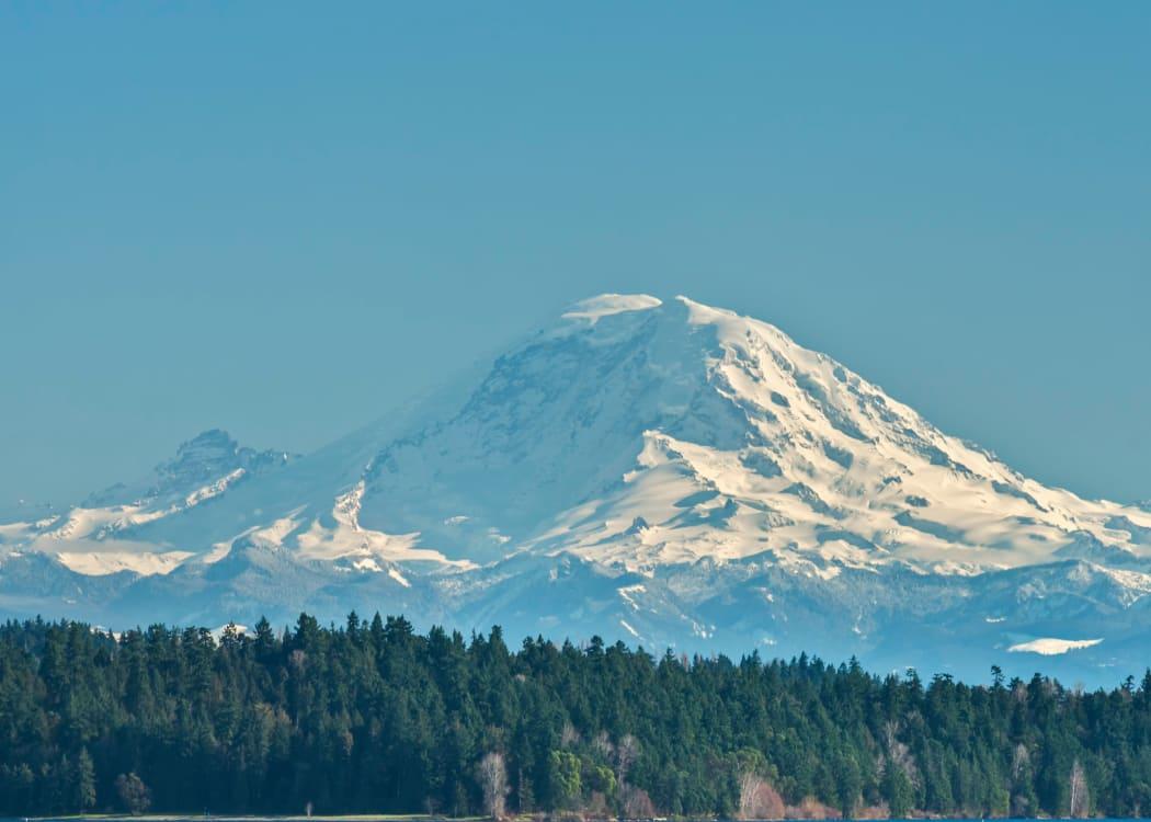 A view of Mt. Rainier in Tukwila, Washington