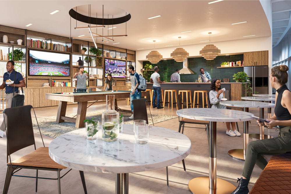 Rendering of the Game Room and Community Kitchen at Prairie Shores