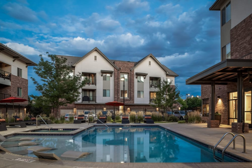 Resort-style swimming pool at The Parc at Greenwood Village in Greenwood Village, Colorado