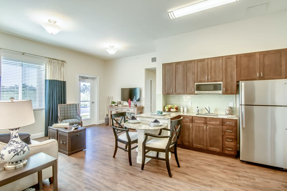 resident kitchen and living room