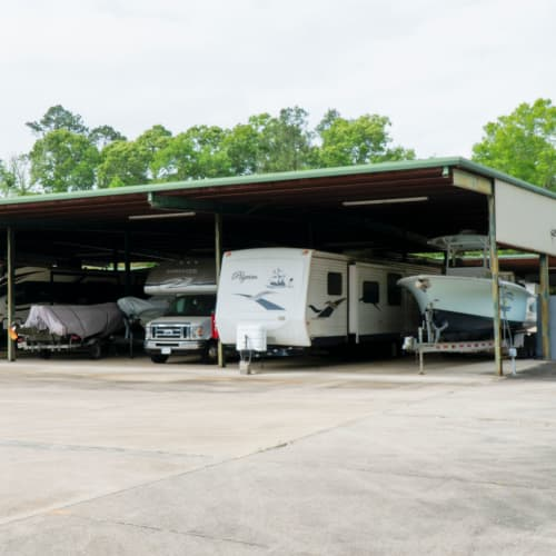 Covered RV parking at Red Dot Storage in Ponchatoula, Louisiana
