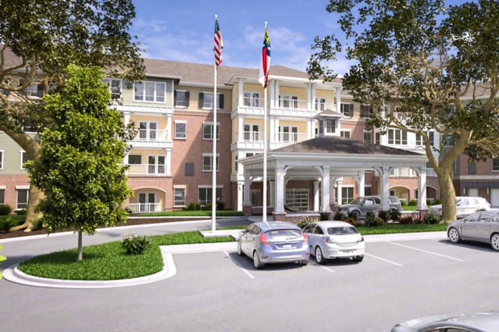 A rendering of the exterior of Harmony at Savannah.