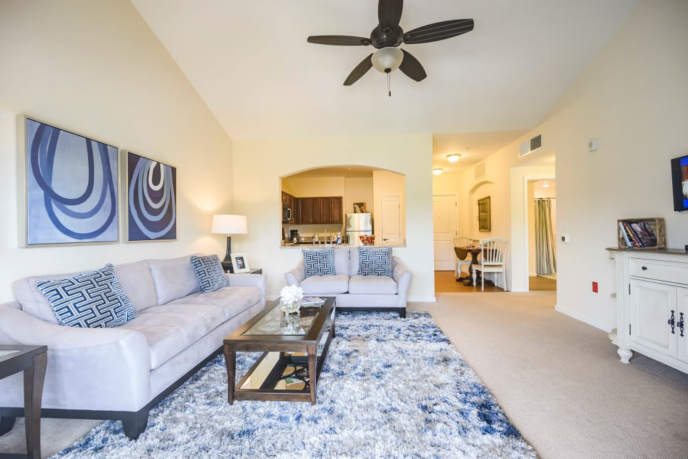 An apartment living room at Harmony at Victory Station in Murfreesboro, Tennessee