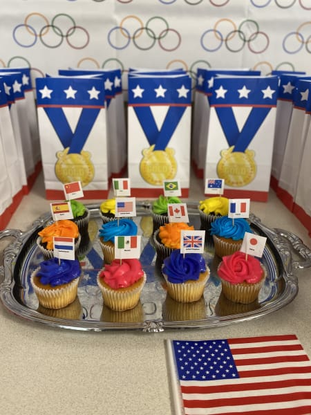 The culinary team took the time to personalize some cupcakes for the different participating countries.