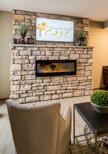 Fireplace at Remington Cove Apartments in Apple Valley