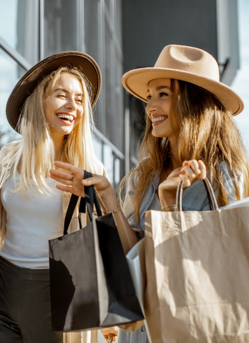 Residents out shopping for clothes near Marquis at Legacy in Plano, Texas