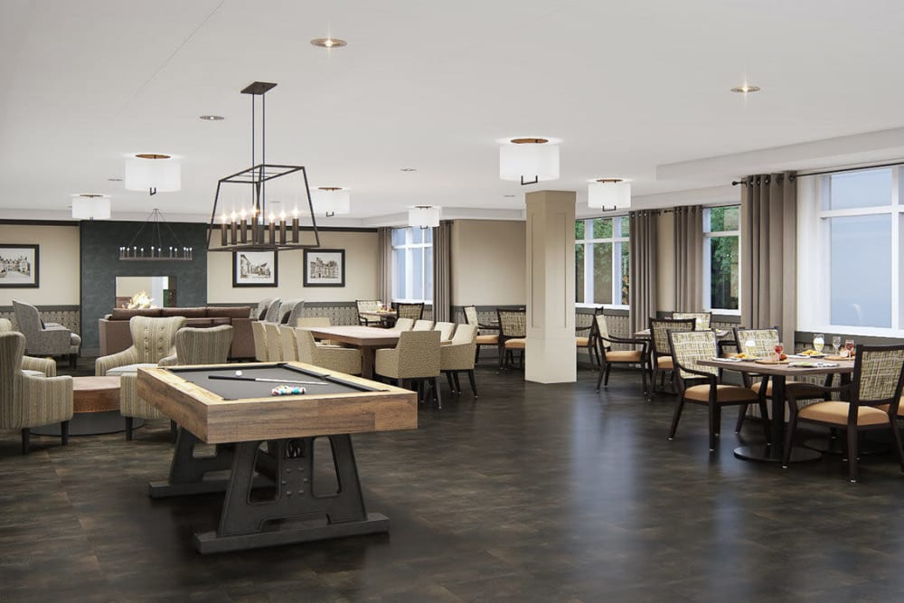 Game room complete with pool table in upscale senior living facility at The Springs at Sherwood in Sherwood, Oregon