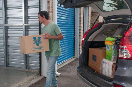 Customer loading up his new storage unit at Virginia Varsity Storage in Christiansburg, Virginia