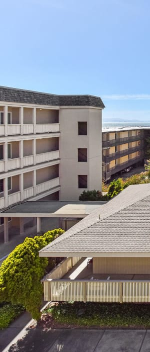 Aerial view of the apartments at Tower Apartment Homes in Alameda, California