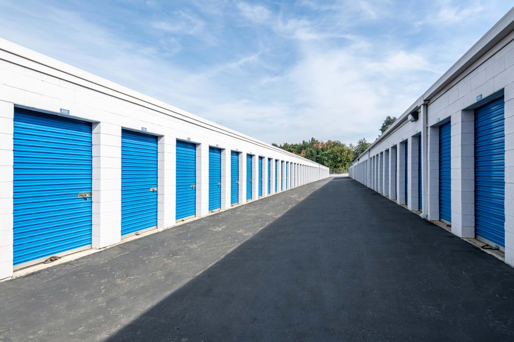 A row of exterior storage units at Storage Etc... Diamond Bar in Diamond Bar, CA