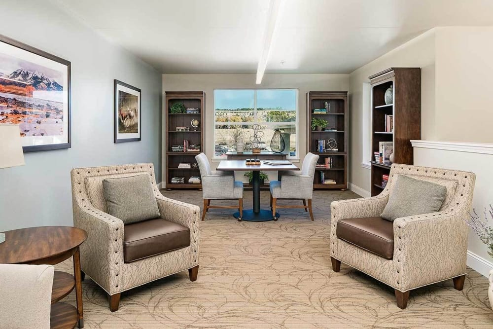 Elegant and well lit upscale living room in senior apartment at The Springs at Grand Park in Billings, Montana