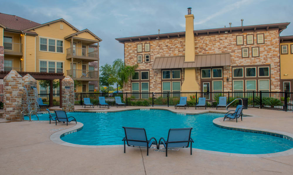 Resort style pool at Tuscana Bay Apartments in Corpus Christi, Texas