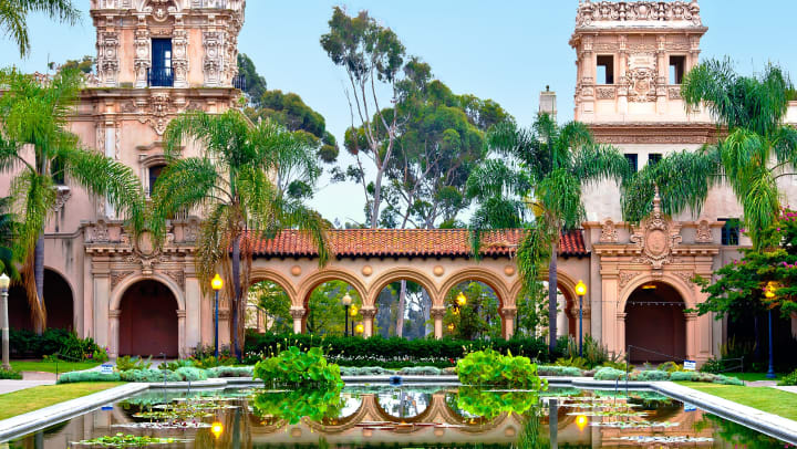 Balboa Park water gardens near Olympus Corsair in San Diego, California