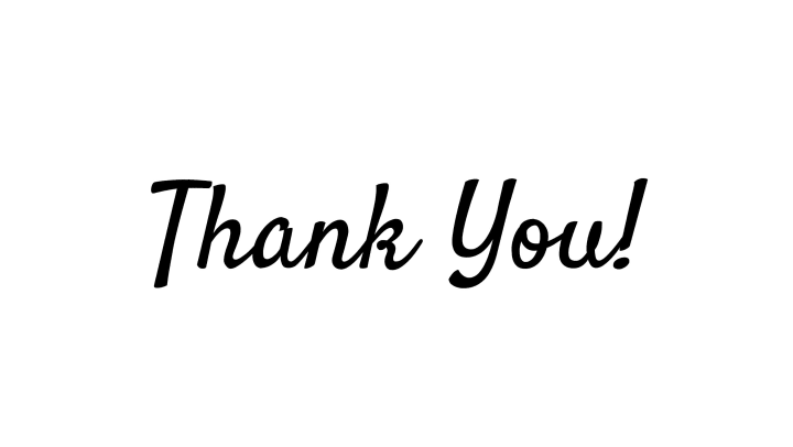 White image with black text saying thank you
